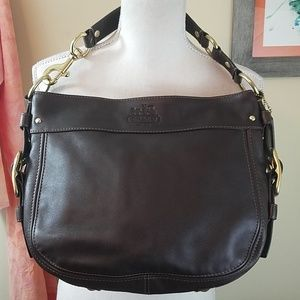 Coach Zoe Mahogany Dark Brown Leather Hobo Bag